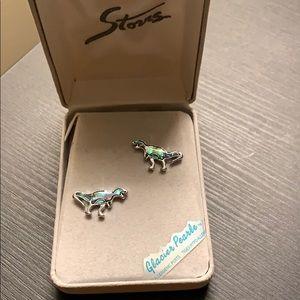 Storrs Genuine Abalone Dinosaur Earrings